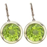 14k Solid Gold Round Peridot Dangle Earrings (3.0.cts.tw)