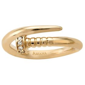 !4k Yellow Solid Gold Diamonds Nail Ring (0.05 ct.tw)