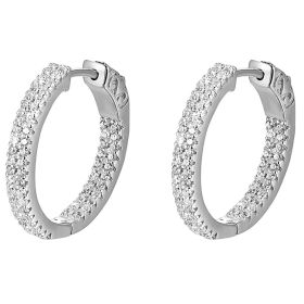 14k Gold Round Diamond In And Out Huggie Earrings (1.32.cts.tw)