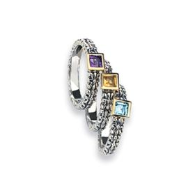 Sterling Silver 18k Gemstone Stackable Rings (1.20 cts.tw)