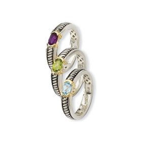 Sterling Silver Gold Semi Precious Stackable Rings (1.35 cts.tw)