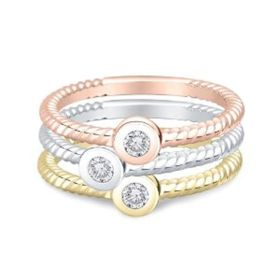 14k Solid Gold Trio Diamond Stackable Ring (0.30.ct.tw)