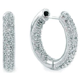 14k Gold Round Diamond In And Out Huggie Earrings (3.44.cts.tw)