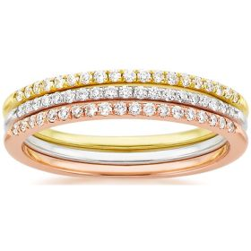 14k Solid Gold Diamond Stackable Ring (1.08.cts.tw)