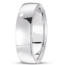 14k Low Dome Comfort Fit White Wedding Band (6.0 mm)