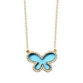 14k Diamond Turquoise Butterfly Necklace (2.0.cts.tw)