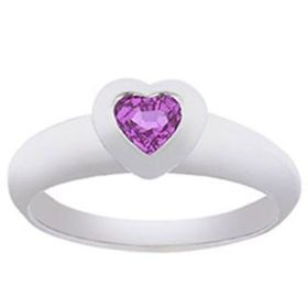 14k Gold  Pink Sapphire Heart-Shaped Ring (0.40.ct.tw)