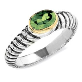 Sterling Silver 18K Gold Peridot Ring (1.0.ct.tw)