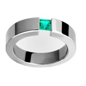 14k White Gold Square Emerald Cigar Band (0.50.ct.tw)