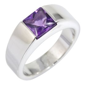14k Gold White Tank Square Amethyst Ring (1.70.cts.tw)