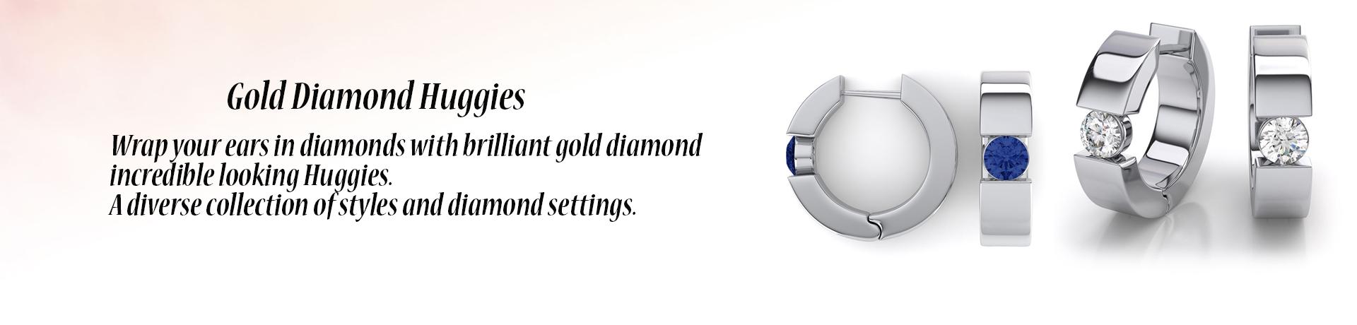 Gold Diamond Huggies